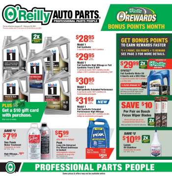 O'Reilly Auto Parts Flyer - 01.27.2021 - 02.23.2021.