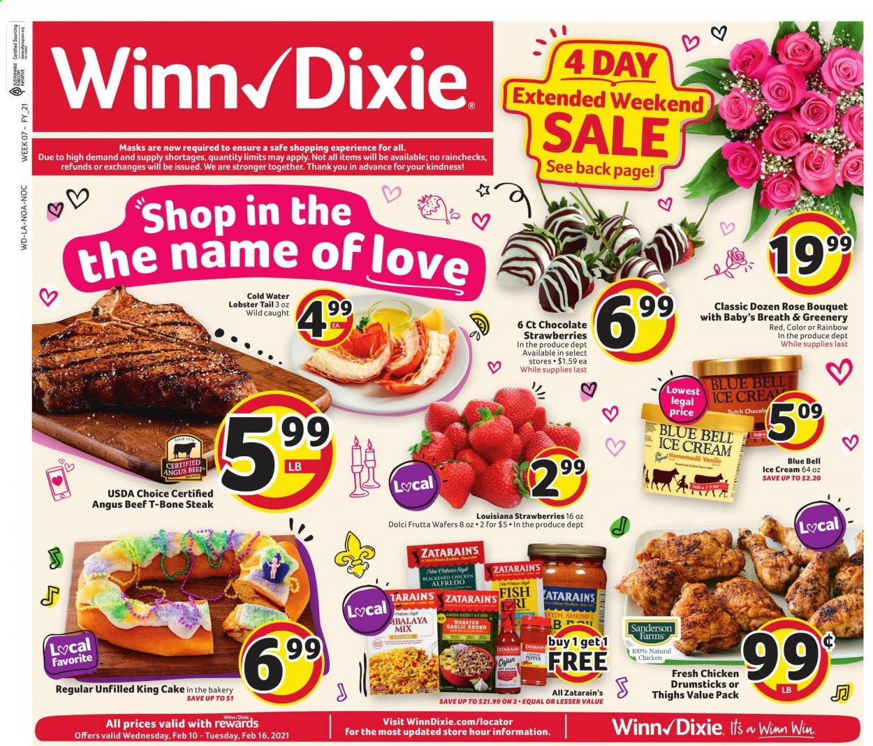 Winn Dixie Flyer - 02.10.2021 - 02.16.2021 - Sales products - garlic, strawberries, cake, chicken, chicken legs, beef meat, t-bone steak, steak, lobster, fish, shrimps, sauce, ice cream, wafers, chocolate, adobo sauce, alfredo sauce, hot sauce, water. Page 1.